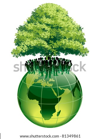 Businesspeople are standing on a large world globe, under a big green tree - stock vector