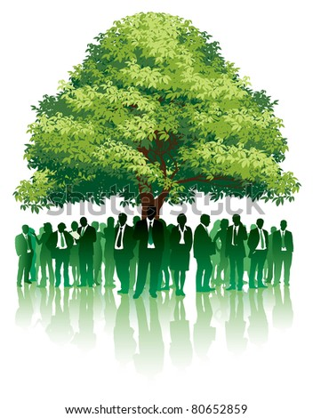 Businesspeople are standing under a big green tree.