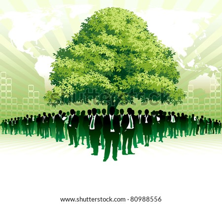 Businesspeople are standing under a big green tree in front of large world map - stock vector