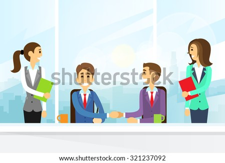 Businesspeople Handshake, Colleagues Shaking Hands Meeting Signing Agreement Office Flat Vector Illustration - stock vector