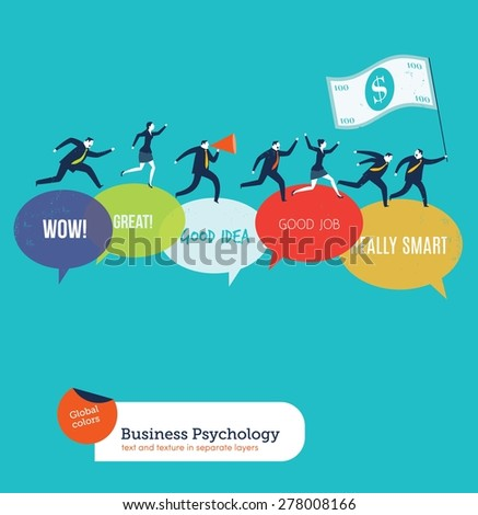 Businesspeople running on motivated speech bubbles. Vector illustration Eps10 file. Global colors. Text and Texture in separate layers. - stock vector