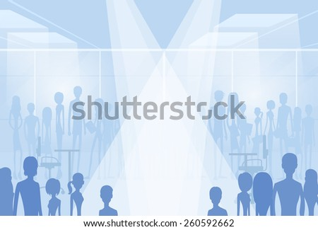 businesspeople silhouettes in office with copy space, group of business people crowd vector illustration - stock vector