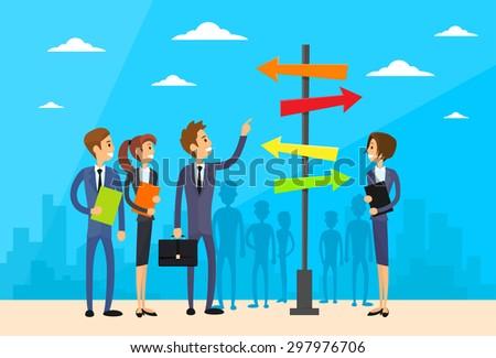 Businesspeople Standing Sign Choose Direction Way Signboard Arrow Flat Vector Illustration - stock vector