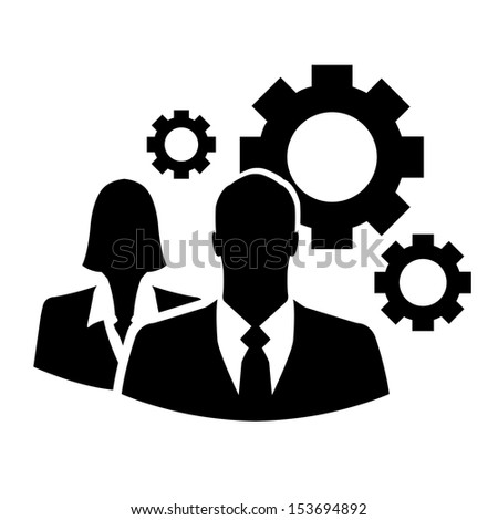 Businesspeople with gears vector icon - stock vector