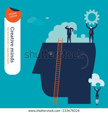 Businessperson on head with brain puzzle. Vector illustration Eps10 file. Global colors. Text and Texture in separate layers. - stock vector