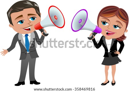 businesswoman and businessman holding and speaking in megaphone isolated  - stock vector