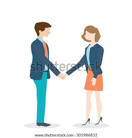 Businesswoman and businessman shaking hands on white background. cartoon character with flat design, business concept.Vector illustration. - stock vector
