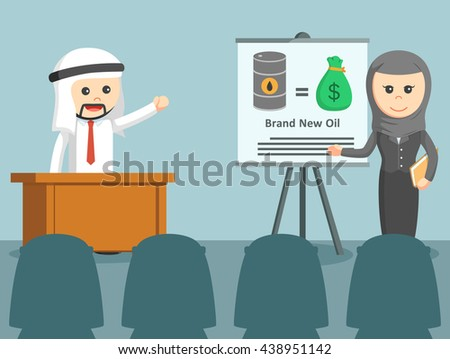 businesswoman and businessmen arabic give a presentation in front of everybody - stock vector