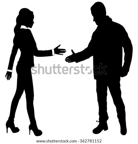 Businesswoman and young man shaking hands - stock vector