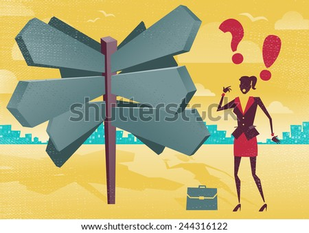 Businesswoman at a Blank Sign Post Dilemma.  Illustration of Retro styled Businesswoman with a selection of Business related options and choices to make. All recruitment Agencies need one of these! - stock vector