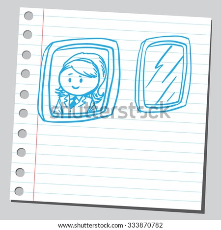 Businesswoman at airplane window - stock vector