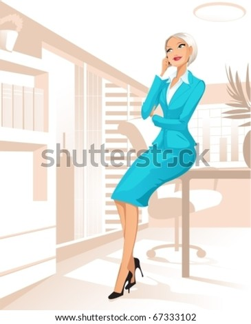 Businesswoman at office - stock vector