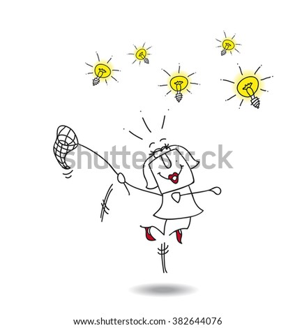 businesswoman catches ideas. A businesswoman runs after light bulbs. It's a metaphor of somebody who want find brilliant ideas - stock vector