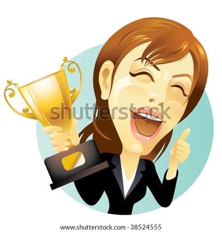 Businesswoman celebrating with trophy in hand