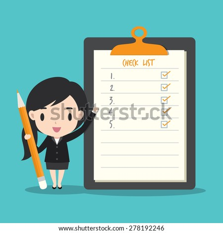 Businesswoman check list on note paper - stock vector