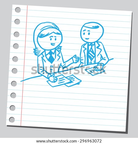 Businesswoman consulting businessman - stock vector