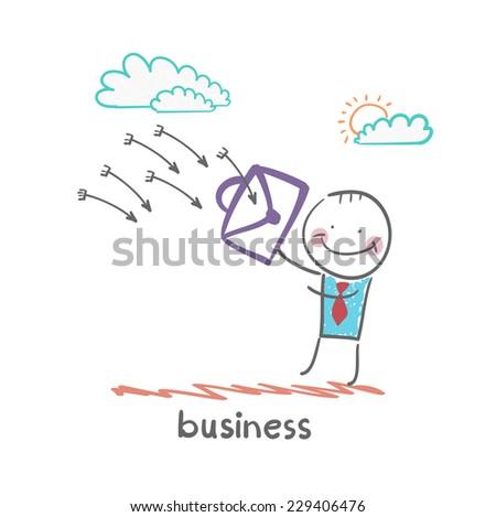 businesswoman defends from arrows portfolio - stock vector