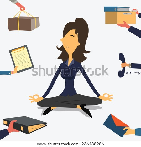 Businesswoman doing Yoga to calm down the stressful emotion from multi-tasking and very busy working.  - stock vector