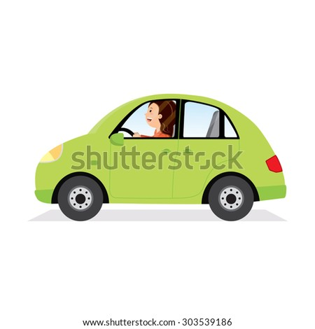 Businesswoman driving her car. Vector illustration of a young woman driving a car. - stock vector
