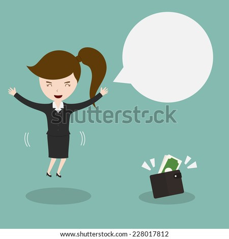 Businesswoman found wallet with cash,Vector EPS10. - stock vector