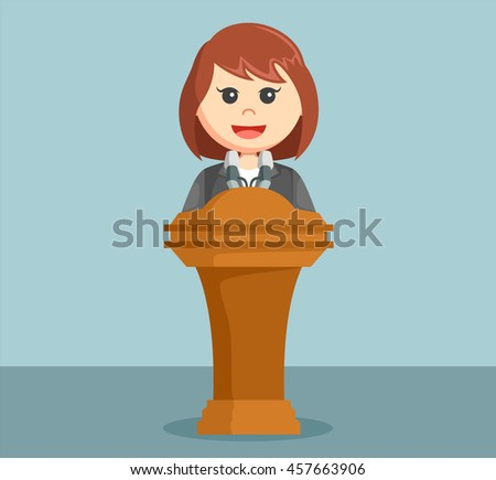 businesswoman giving speech