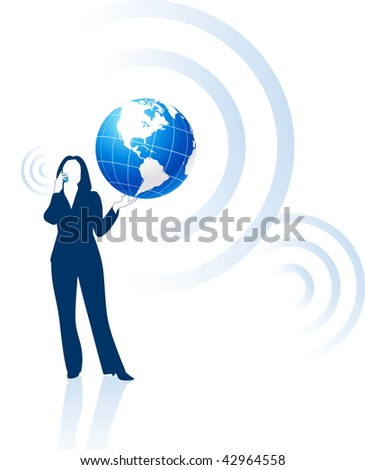 businesswoman global communication Original Vector Illustration - stock vector