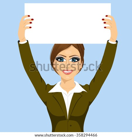 businesswoman holding white blank board - stock vector