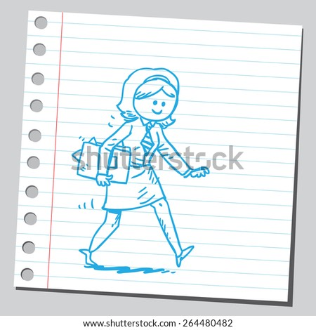 Businesswoman hurrying with documents - stock vector