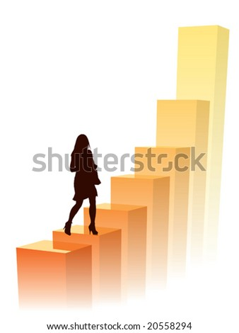 Businesswoman in a hurry, conceptual business illustration. - stock vector