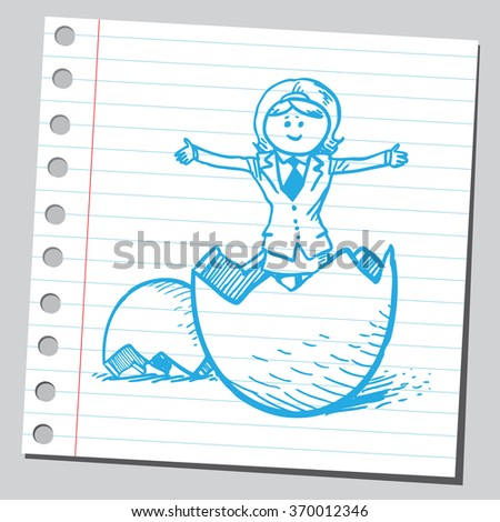 Businesswoman in egg - stock vector