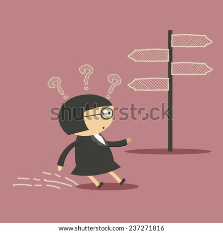 Businesswoman in front of a choice - stock vector
