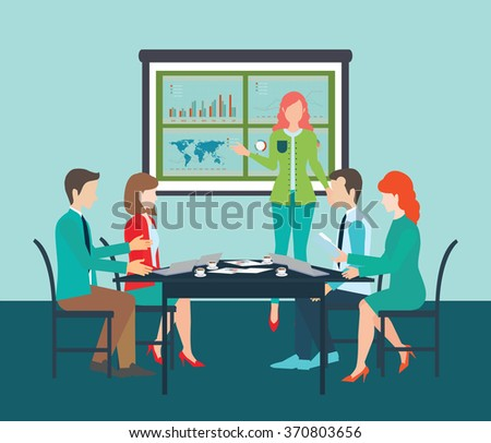 Businesswoman in suit making presentation explaining charts on board. Business seminar, Business meeting, teamwork, planning, conference, brainstorming in flat style, conceptual vector illustration. - stock vector