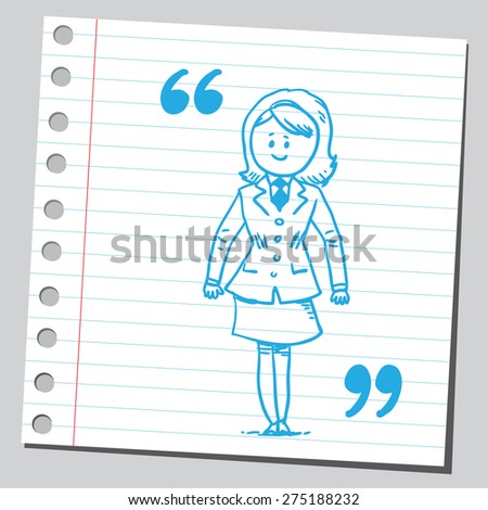 Businesswoman in the middle of speech marks - stock vector