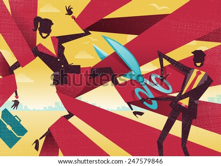 Businesswoman is cut Free from bureaucratic red tape. Great illustration of Retro styled Abstract Businessman using Scissors to free his buddy from bureaucratic red tape.