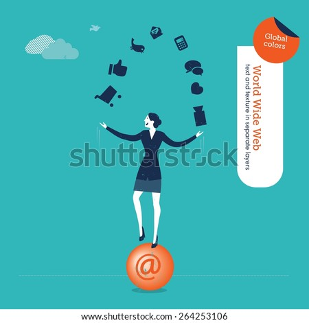Businesswoman juggler with internet icons. Vector illustration Eps10 file. Global colors. Text and Texture in separate layers. - stock vector