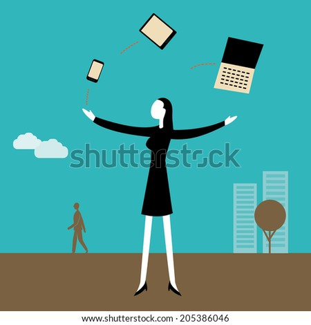 Businesswoman juggling  with technology - stock vector