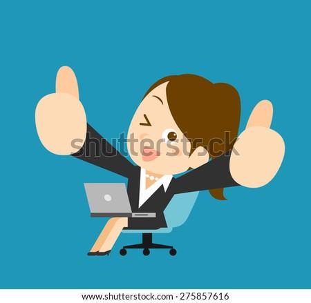 Businesswoman & laptop - stock vector