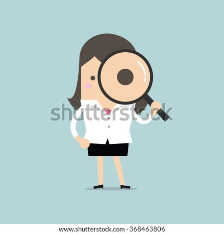 Businesswoman looking through a magnifying glass - stock vector