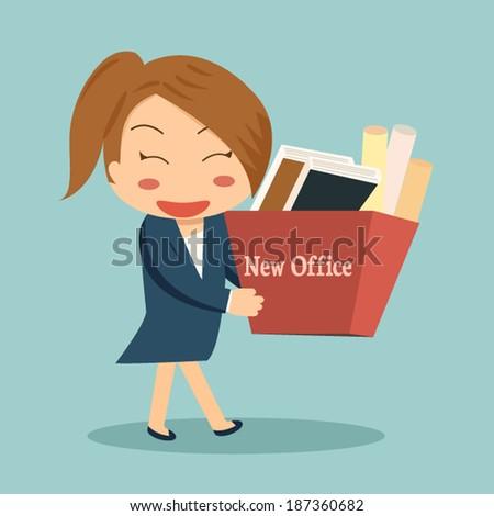 Businesswoman moving into a new office or changing jobs carrying a cardboard box with her documents. - stock vector