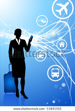 businesswoman on Abstract Modern Light Background Original Illustration