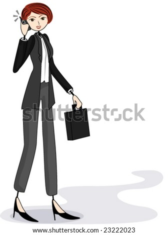 Businesswoman on Cellphone  (Doodle) - Vector