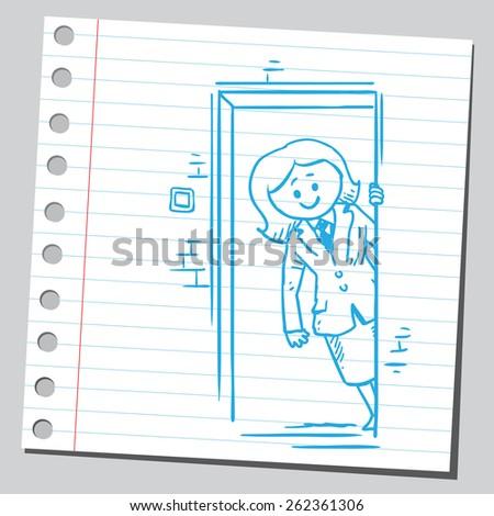 Businesswoman opening door - stock vector