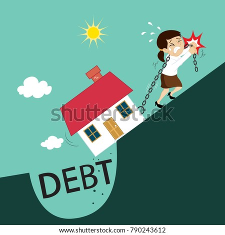 Businesswoman pushing chain with house from debt burden, illustration vector cartoon