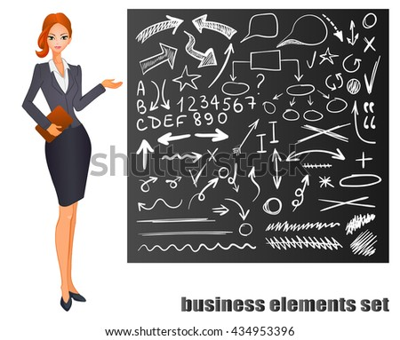 Businesswoman. Red hair. Chalkboard with hand drawn business sketches. VECTOR eps 8 illustration   - stock vector