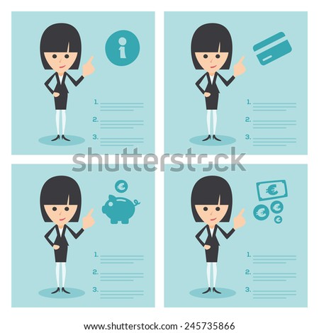 Businesswoman Set - Team Working In Office - Payment Information - stock vector
