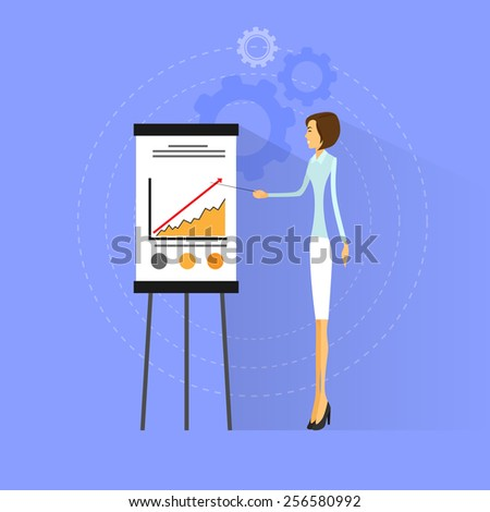 businesswoman show graph flat design vector illustration - stock vector