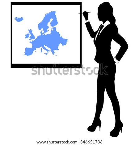 businesswoman showing earth map - map of Europe - stock vector