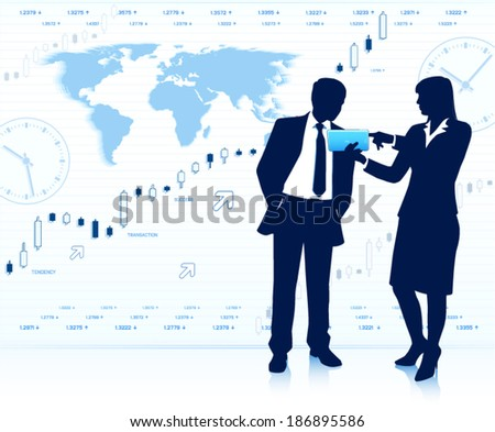 Businesswoman shows tablet computer to businessman - stock vector