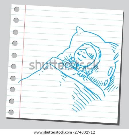 Businesswoman sleeping in bed - stock vector