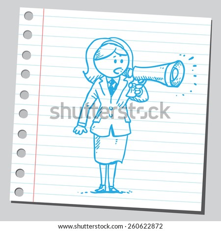 Businesswoman speaking into megaphone - stock vector